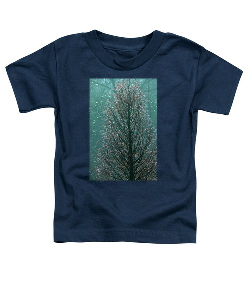 Tree In Autumn, With Red Leaves, Blue Background, Sunny Day Toddler T-Shirt