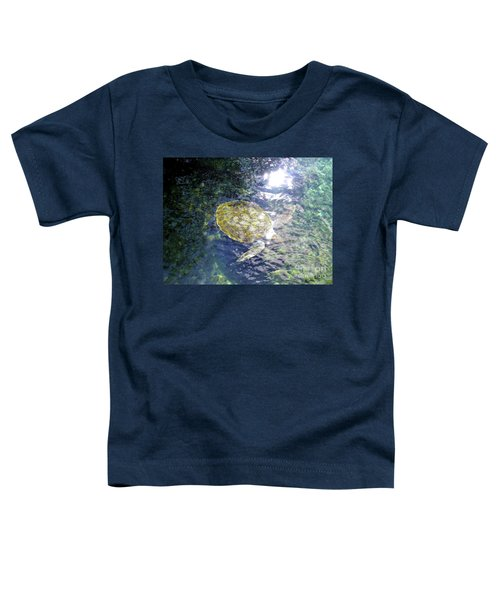 Toddler T-Shirt featuring the photograph Turtle Water Glide by Francesca Mackenney