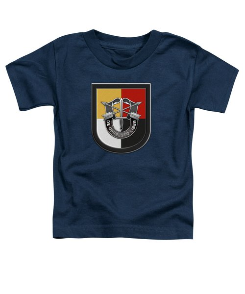 U. S.  Army 3rd Special Forces Group - 3  S F G  Beret Flash Over Green Beret Felt Toddler T-Shirt