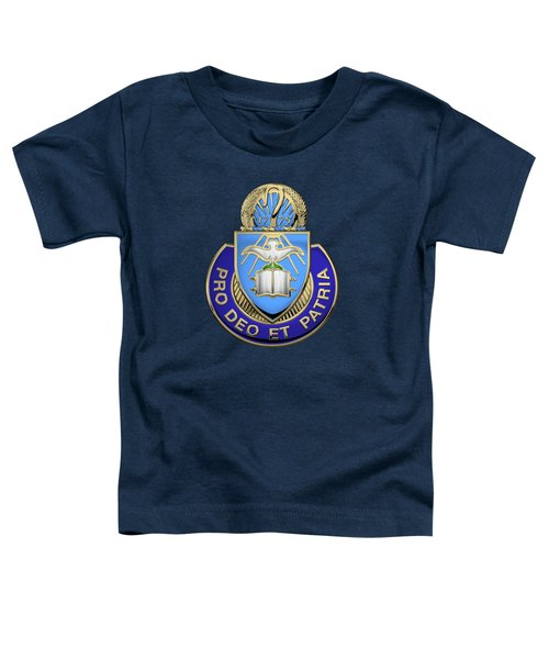 U. S. Army Chaplain Corps - Regimental Insignia Over Blue Velvet Toddler T-Shirt