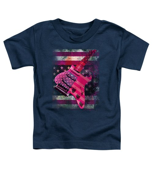 Usa Pink Strat Guitar Music Toddler T-Shirt