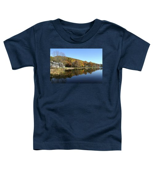 View Of Peaks Of Otter Lodge And Abbott Lake  In Autumn Toddler T-Shirt