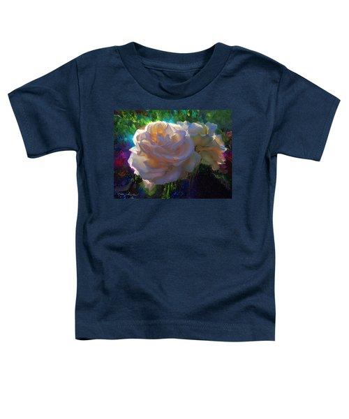 White Roses In The Garden - Backlit Flowers - Summer Rose Toddler T-Shirt
