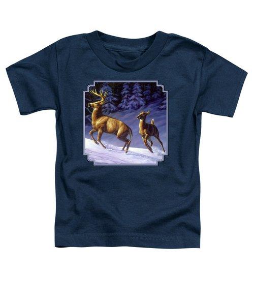 Whitetail Deer Painting - Startled Toddler T-Shirt