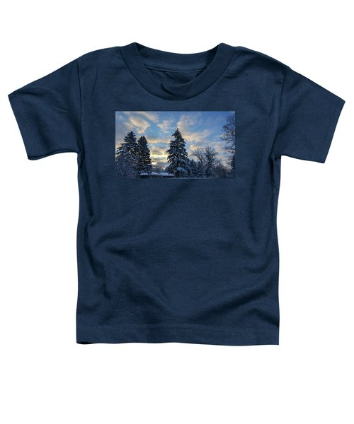 Winter Dawn Over Spruce Trees Toddler T-Shirt