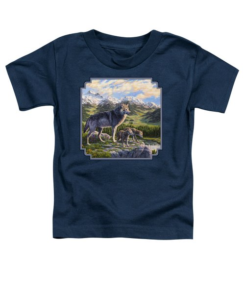 Wolf Painting - Passing It On Toddler T-Shirt by Crista Forest