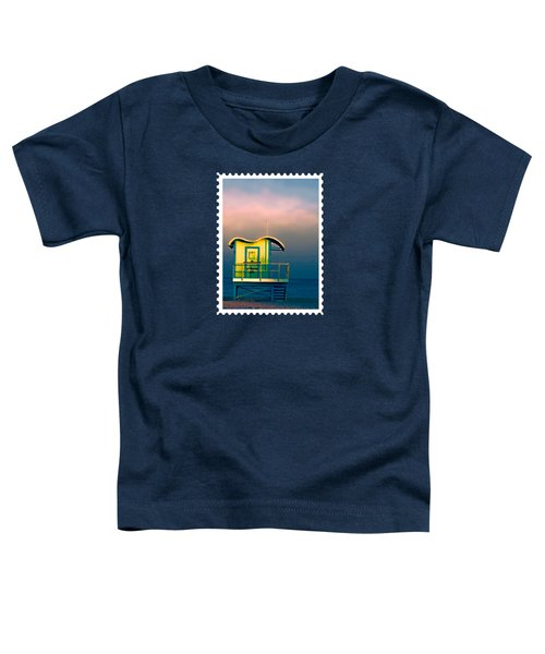 Yellow Lifeguard Shack Against Pink Sunset  Toddler T-Shirt