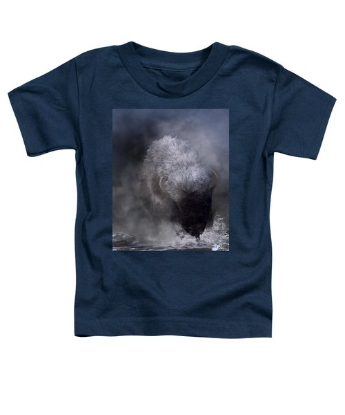 Buffalo Charging Through Snow Toddler T-Shirt