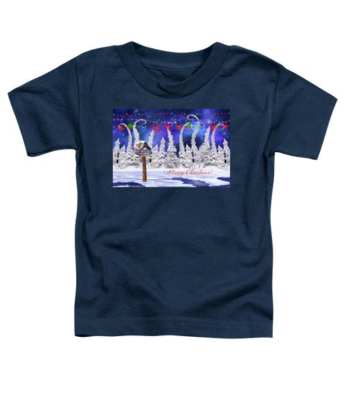 Christmas Card With Bird House Toddler T-Shirt