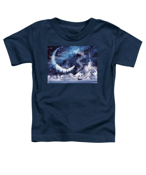 Christmas Card With Frozen Moon Toddler T-Shirt
