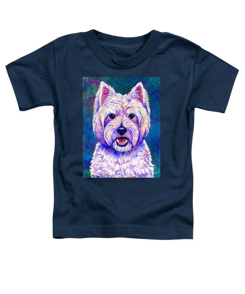 Colorful West Highland White Terrier Blue Background Toddler T-Shirt
