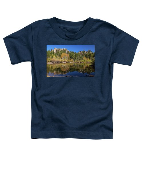 Toddler T-Shirt featuring the photograph Cool Calm Rocky Mountains Autumn Reflections by James BO Insogna