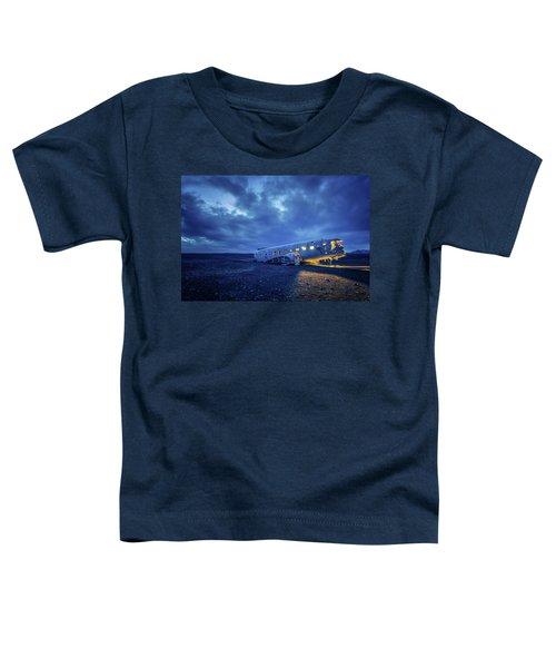 Dc-3 Plane Wreck Illuminated Night Iceland Toddler T-Shirt