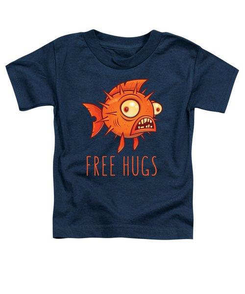 Free Hugs Cartoon Blowfish Toddler T-Shirt