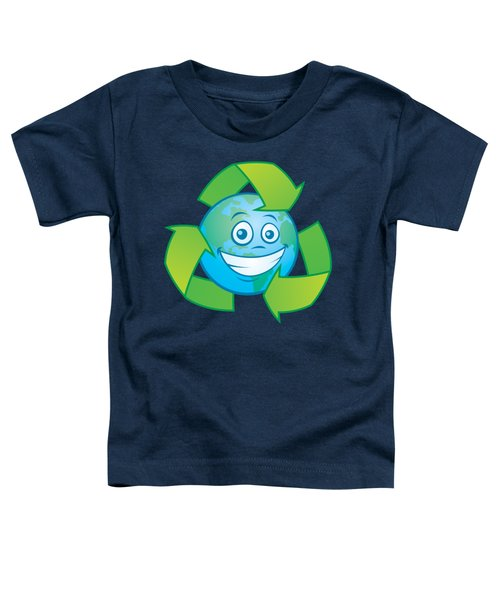 Planet Earth Recycle Cartoon Character Toddler T-Shirt