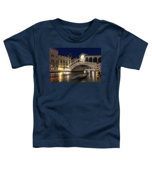 Rialto Bridge Midnight - Slow Mo Boats Light Trails Toddler T-Shirt
