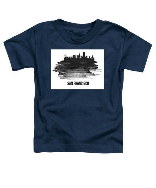 San Francisco Skyline Brush Stroke White Toddler T-Shirt