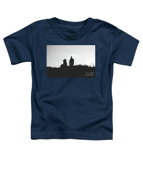 Silhouette Of Couple In Love With Wedding Couple On Top Of A Hill Toddler T-Shirt