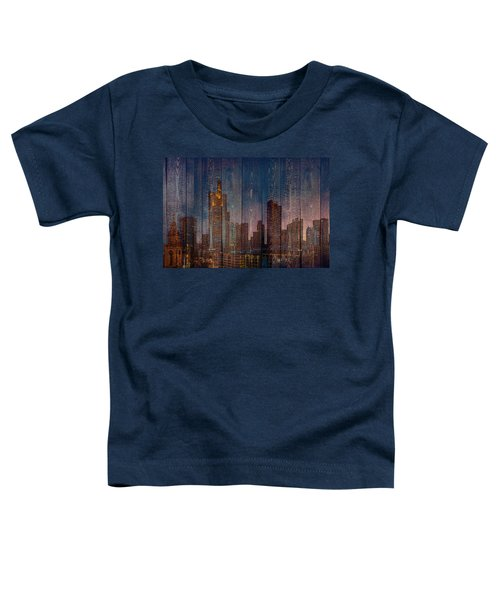 Skyline Of Frankfurt, Germany On Wood Toddler T-Shirt