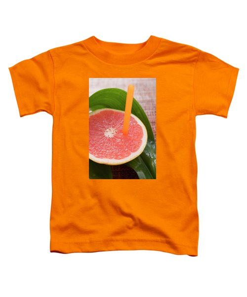 Half A Pink Grapefruit With A Straw Toddler T-Shirt