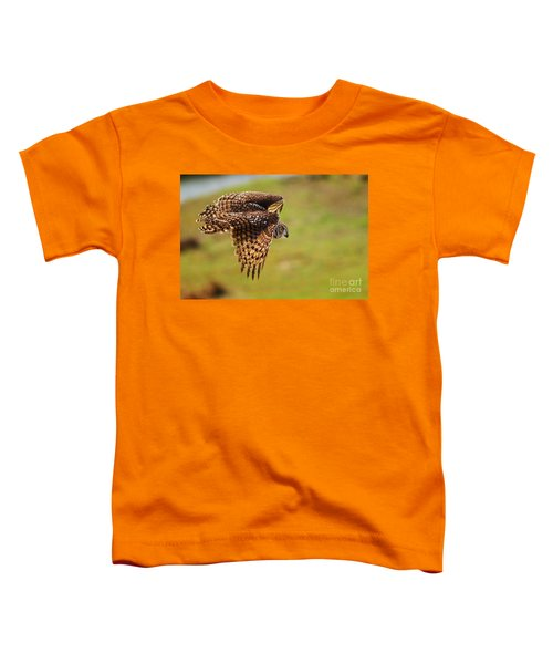 Spotted Eagle Owl In Flight Toddler T-Shirt