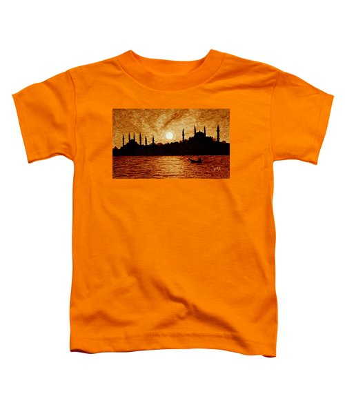 Toddler T-Shirt featuring the painting Sunset Over Istanbul Original Coffee Painting by Georgeta  Blanaru