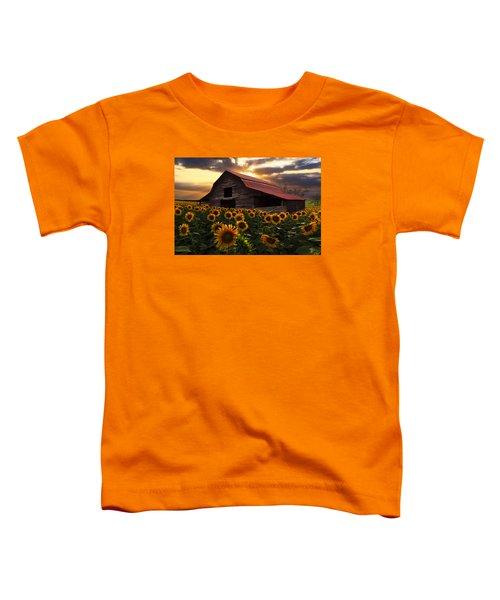 Toddler T-Shirt featuring the photograph Sunflower Farm by Debra and Dave Vanderlaan