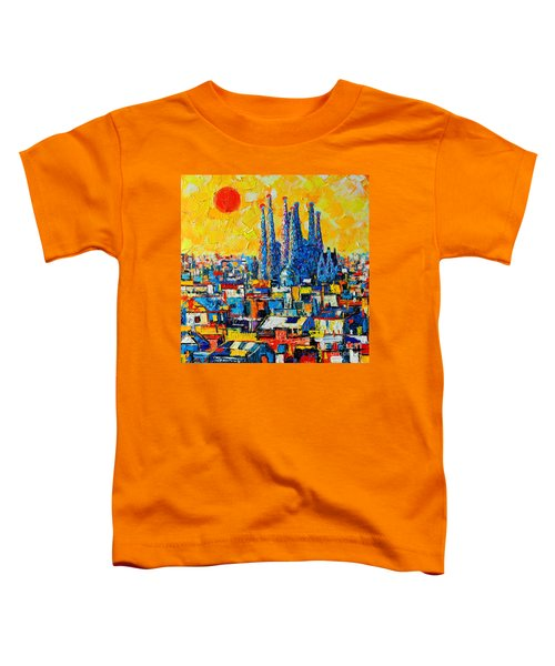 Abstract Sunset Over Sagrada Familia In Barcelona Toddler T-Shirt