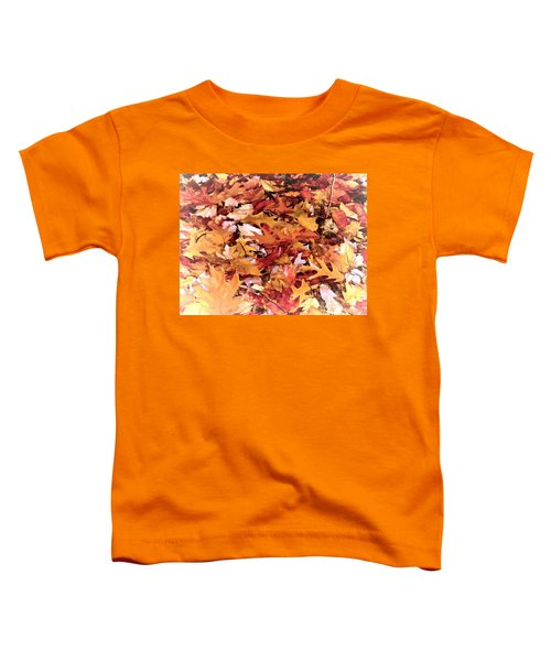 Autumn Leaves On The Ground In New Hampshire In Muted Colors Toddler T-Shirt
