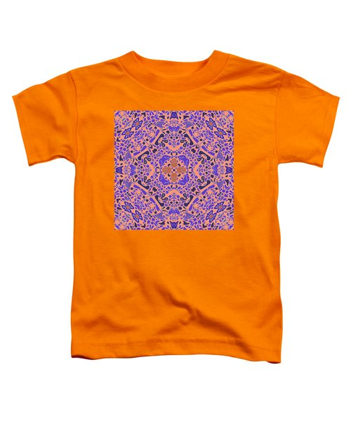 Toddler T-Shirt featuring the digital art Chandra Periwinkle Edges Kaleidoscope by Joy McKenzie