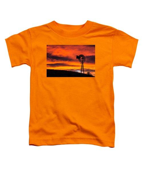 Cobblestone Windmill At Sunset Toddler T-Shirt