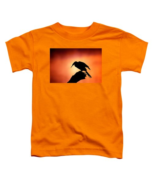 Darter Silhouette With Misty Sunrise Toddler T-Shirt