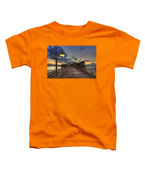 Toddler T-Shirt featuring the photograph Dock Lights At Jekyll Island by Debra and Dave Vanderlaan