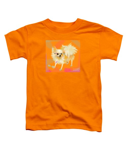 Toddler T-Shirt featuring the painting Dog Chihuahua Orange by Go Van Kampen