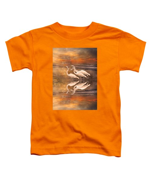 Dreaming Of Egrets By The Sea Reflection Toddler T-Shirt by Betsy Knapp