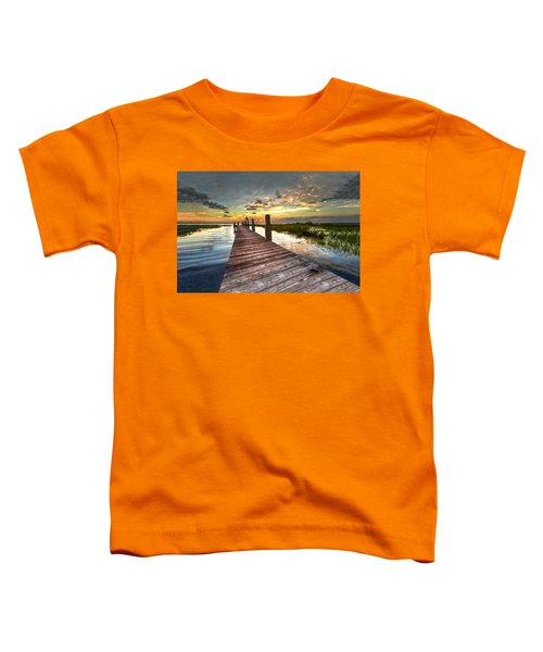 Toddler T-Shirt featuring the photograph Evening Dock by Debra and Dave Vanderlaan