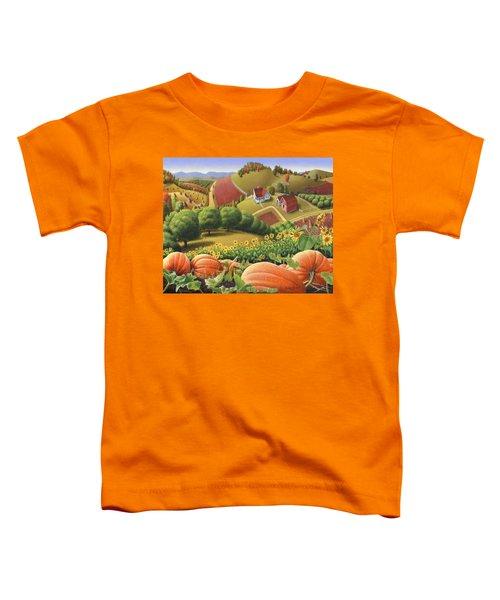 Farm Landscape - Autumn Rural Country Pumpkins Folk Art - Appalachian Americana - Fall Pumpkin Patch Toddler T-Shirt
