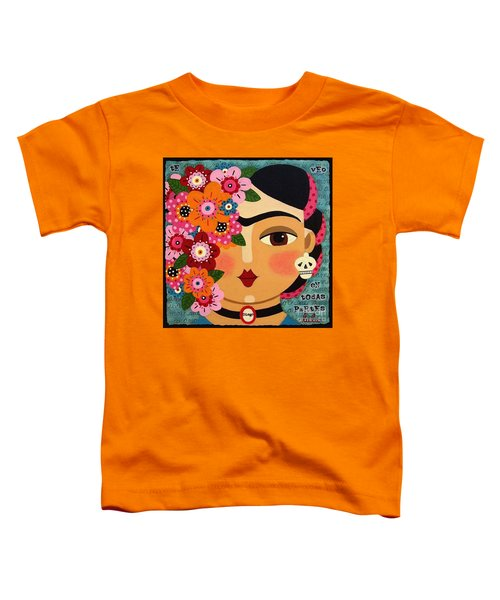 Frida Kahlo With Flowers And Skull Toddler T-Shirt