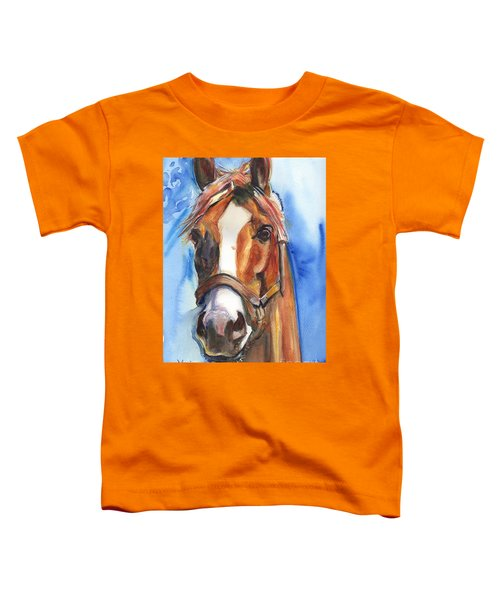 Horse Painting Of California Chrome Go Chrome Toddler T-Shirt by Maria's Watercolor