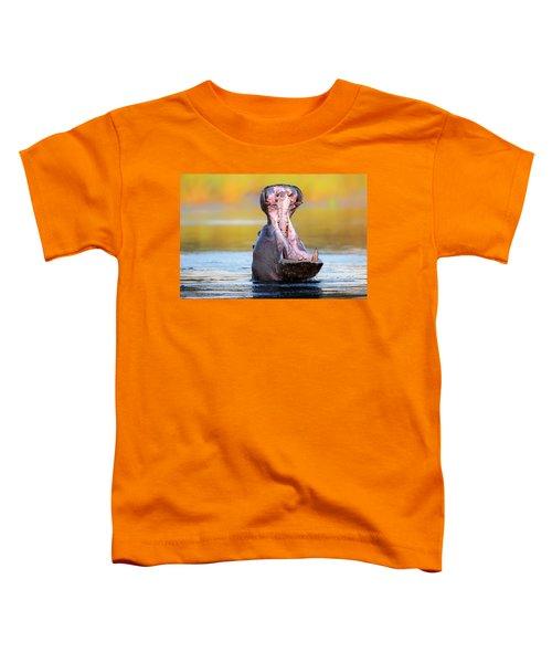 Hippopotamus Displaying Aggressive Behavior Toddler T-Shirt by Johan Swanepoel