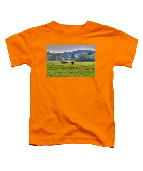 Toddler T-Shirt featuring the photograph Horses In A Field 2 by Jonny D