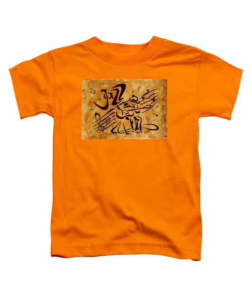 Toddler T-Shirt featuring the painting Jazz Abstract Coffee Painting by Georgeta  Blanaru