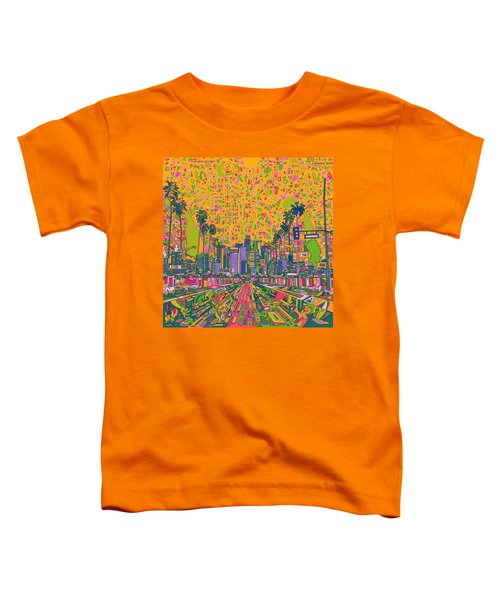 Los Angeles Skyline Abstract Toddler T-Shirt by Bekim Art