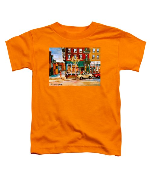 Paintings Of  Famous Montreal Places St. Viateur Bagel City Scene Toddler T-Shirt