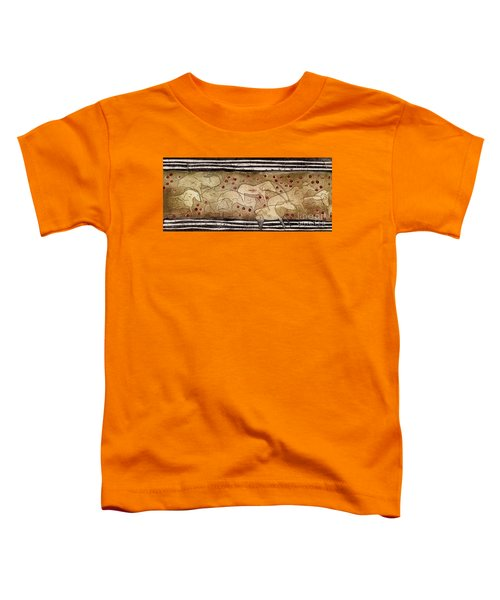 Petroglyph - Ensemble Of Red Dots And Short Strokes - Prehistoric Art - The Plains - Prarie Country Toddler T-Shirt