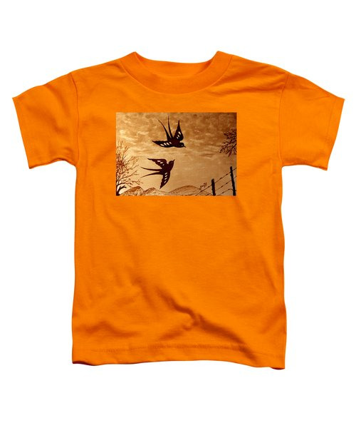 Toddler T-Shirt featuring the painting Playful Swallows Original Coffee Painting by Georgeta  Blanaru