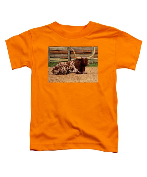 Red And White Texas Longhorn Toddler T-Shirt