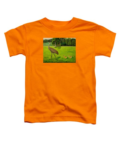 Painted Sandhill Crane With Chicks  Toddler T-Shirt