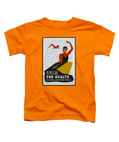 Toddler T-Shirt featuring the drawing Swim For Health W P A Poster by Joy McKenzie