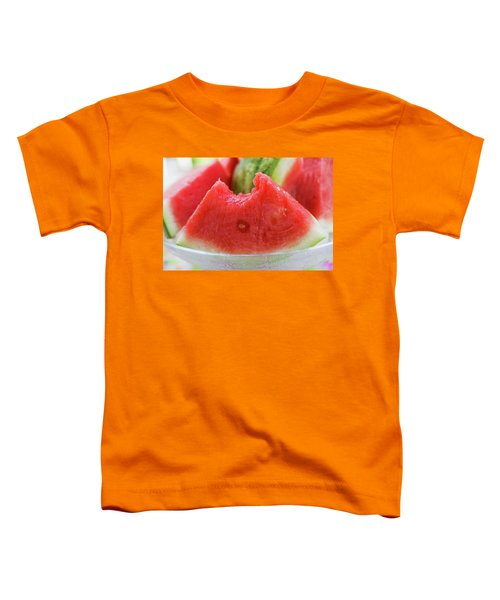 Wedge Of Watermelon, A Bite Taken, In A Glass Bowl Toddler T-Shirt